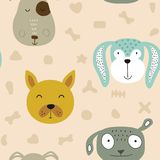 Seamless  childish pattern with dog animal faces as backround or texture. For kids design, fabric, wrapping, wallpaper, textile Royalty Free Stock Photography