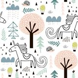 Seamless childish pattern with fairy unicorn, hedgehog in the wood. Creative kids city texture for fabric, wrapping, textile, stock illustration