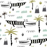 Seamless childish pattern with hand drawn cute alligators. Creative kids texture for fabric, wrapping, textile, wallpaper, apparel. Vector illustration royalty free illustration