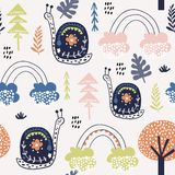 Seamless childish pattern with snails, and rainbows. Creative kids city texture for fabric, wrapping, textile, wallpaper, apparel vector illustration