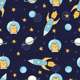 Seamless childish space pattern with cute cats astronauts and rockets Royalty Free Stock Photos