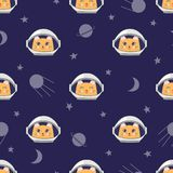 Seamless childish space pattern with cute cats astronauts Royalty Free Stock Images