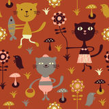Seamless childlike pattern. With fun cats, vector Royalty Free Stock Photography