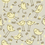 Seamless childlike pattern. With little birds Stock Photo