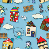 Seamless childlike pattern. Childlike drawing seamless pattern with houses kids and animals Stock Photos