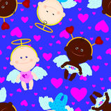 seamless children angels wings hearts Royalty Free Stock Photo