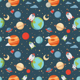 Seamless children cartoon space pattern Royalty Free Stock Image
