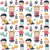 Seamless children cute pattern made with cats, kids, toys, flowers, babies Stock Photography