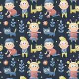 Seamless children cute pattern made with cats, kids, toys, flowers, babies Stock Photo