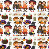 Seamless children in halloween costume. Illustration Royalty Free Stock Images