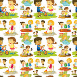Seamless children playing and doing chores Royalty Free Stock Images