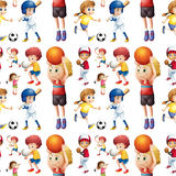 Seamless children playing sports Royalty Free Stock Photography