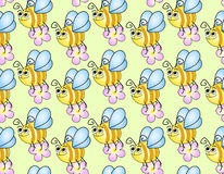 Seamless childrens background with funny bees Royalty Free Stock Images
