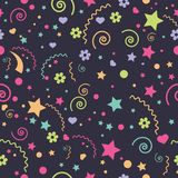 Seamless children`s funny colorful different elements of a star, flowers, hearts stock illustration