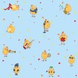 Seamless children`s wallpaper. Cheerful chickens Stock Photos