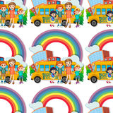 Seamless children standing by the schoolbus Stock Photo