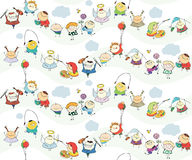 Seamless children  wallpaper with happy kids Royalty Free Stock Image