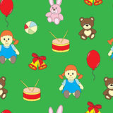 Seamless childrens pattern with toys. Royalty Free Stock Photos