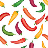 Seamless chile pepper pattern.  Tile vegetable pattern.  Vegetarian wrapping paper texture. Stock Image