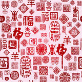 Seamless Chinese characters texture Royalty Free Stock Photos