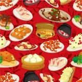 Seamless chinese food pattern. Drawing Stock Photo