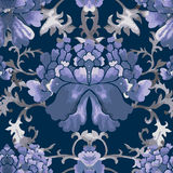 Seamless chinese pattern. Watercolor style wallpaper with floral ornament . Seamless chinese pattern. Blue Watercolor style wallpaper with floral ornament stock illustration