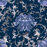 Seamless chinese pattern. Watercolor style wallpaper with floral ornament . Royalty Free Stock Image