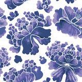Seamless chinese pattern. Watercolor style wallpaper with floral ornament . Stock Photography
