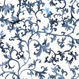 Seamless chinese pattern. Watercolor style wallpaper with floral ornament . Stock Photo