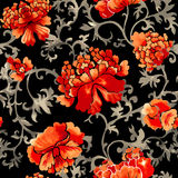 Seamless chinese pattern. Watercolor style wallpaper with floral ornament . Royalty Free Stock Photo