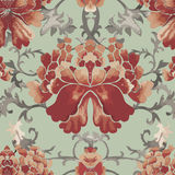 Seamless chinese pattern. Watercolor style wallpaper with floral ornament . Royalty Free Stock Photos