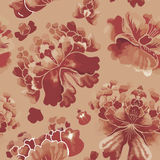 Seamless chinese pattern. Watercolor style wallpaper with floral ornament . Stock Photos