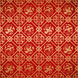 Seamless Chinese Vintage Damask wallpaper Stock Photos