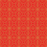 Seamless Chinese window tracery cross square geometry line pattern. Royalty Free Stock Photos