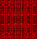 Seamless Chinese window tracery geometry square line pattern background. Stock Photo