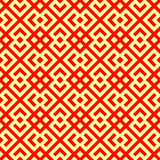 Seamless Chinese window tracery pattern. Repeated stylized red rhombuses on yellow background. Symmetric abstract vector Royalty Free Stock Photos