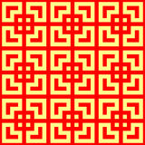 Seamless Chinese window tracery pattern. Repeated stylized red squares on yellow background. Geometric abstract Stock Images