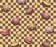 Seamless chocolate candies. On chocolate background Royalty Free Stock Photo