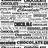 Seamless chocolate pattern with word of chocolate with different Royalty Free Stock Photos