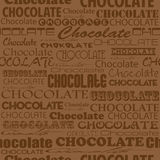 Seamless chocolate pattern with word of chocolate with different Stock Photo