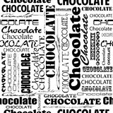 Seamless chocolate pattern with word of chocolate with different Stock Photos