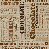 Seamless chocolate pattern with word of chocolate with different Royalty Free Stock Image