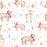 Seamless Christmas baby bear seamless pattern. Hand drawn winter backgraund with bear, snowflakes. Nursery animal Stock Photos