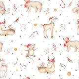 Seamless Christmas baby bear seamless pattern. Hand drawn winter backgraund with bear, snowflakes. Nursery animal Royalty Free Stock Image