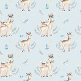 Seamless Christmas baby deer seamless pattern. Hand drawn winter backgraund with deer, snowflakes. Nursery xmas animal Stock Photo