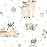 Seamless Christmas baby deer seamless pattern. Hand drawn winter backgraund with deer, snowflakes. Nursery xmas animal Stock Images