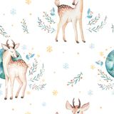 Seamless Christmas baby deer seamless pattern. Hand drawn winter backgraund with deer, snowflakes. Nursery xmas animal Royalty Free Stock Image