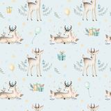 Seamless Christmas baby deer seamless pattern. Hand drawn winter backgraund with deer, snowflakes. Nursery xmas animal Royalty Free Stock Photos