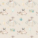 Seamless Christmas baby deer seamless pattern. Hand drawn winter backgraund with deer, snowflakes. Nursery xmas animal Royalty Free Stock Photography