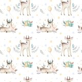 Seamless Christmas baby deer seamless pattern. Hand drawn winter backgraund with deer, snowflakes. Nursery xmas animal Royalty Free Stock Images